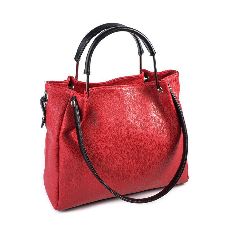 9a91bd0cfd18 Красная сумка шоппер матовая с руками на плечо с черными вставками1 ...