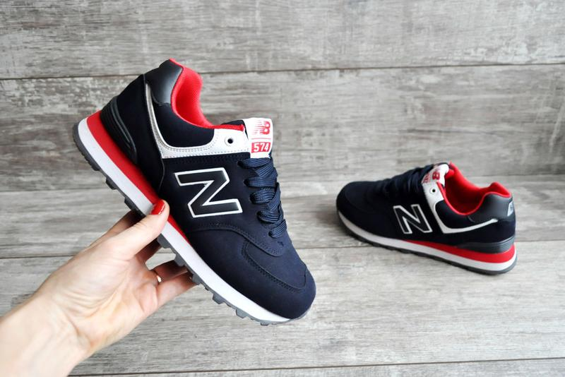 326e6eda0 Акция 43-46 кроссовки new balance 574 натуральная замша синий красный1 фото  ...