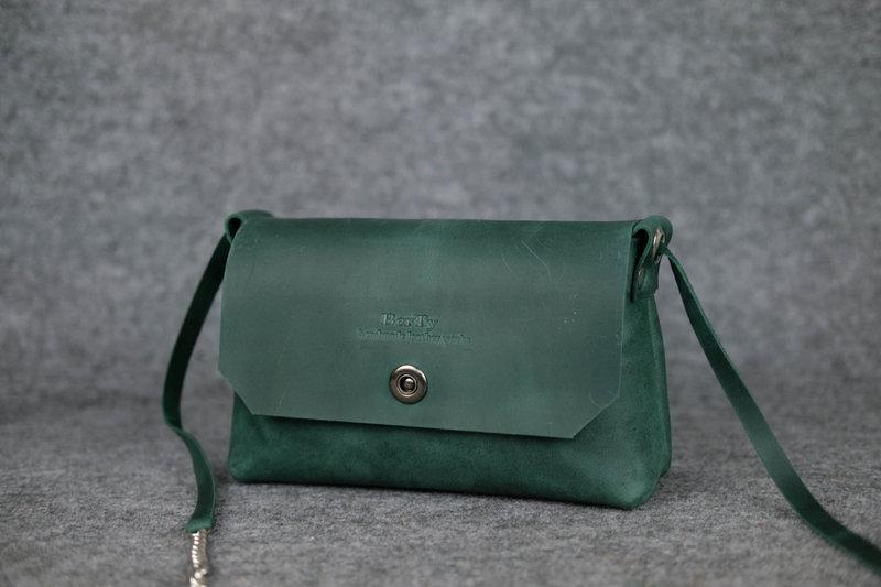 661efd0de720 Кожа. ручная работа. кожаная зеленая женская сумка, сумочка,клатч.1 фото ...