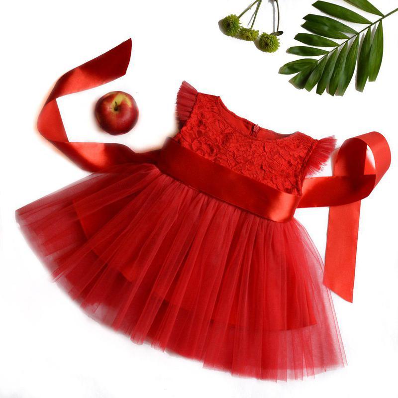 Красное нарядное платье на девочку евросетка  червоне плаття дитяче від 1  до 5 років1 ... 1667e47509ec0