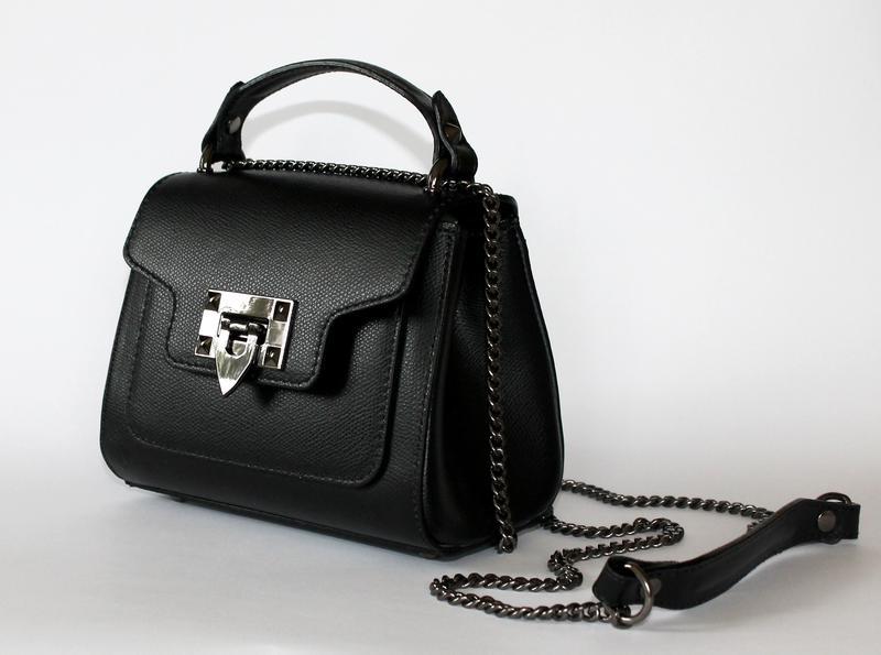 Черная кожаная (натуральная кожа) итальянская мини сумочка (сумка), италия1  ... 8ab1c9f3a01