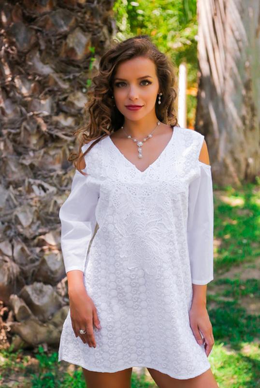 dbc49edf5f7 Туника женская белая летняя из хлопка1 фото ...