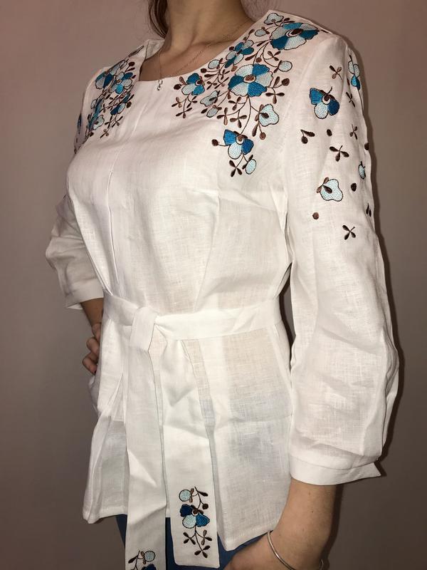 9f468025db4 Шикарная блуза туника с вышивкой вышиванка лён размер с1 фото ...