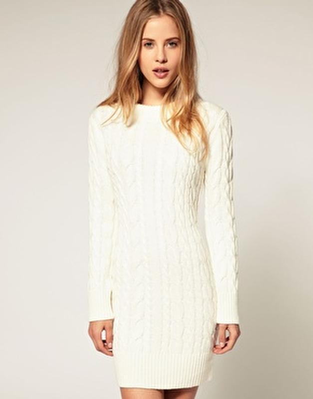 3e5eff8b1ab Вязаное платье косы бежевое белое asos1 фото ...