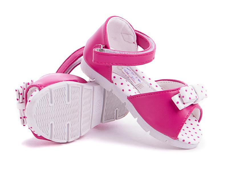 Яркие розовые босоножки для девочки с бантиком в горошек босоніжки для  дівчинки 16 см1 ... 90e98ac39fcd8
