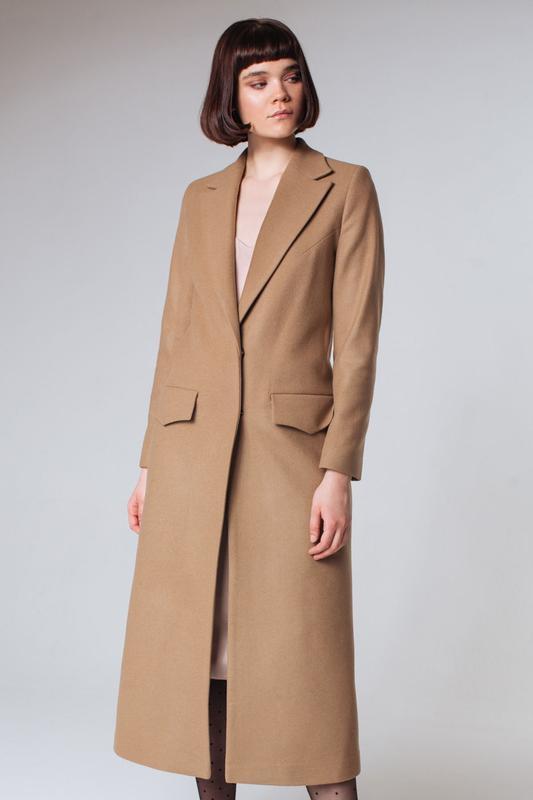 1d60b69eb09 Длинное шерстяное макси пальто прямого кроя цвета кэмел camel1 фото ...