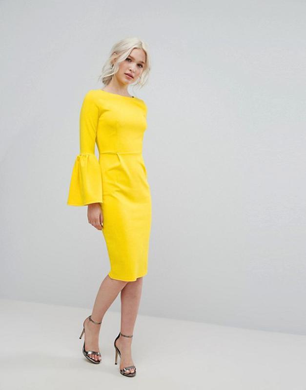 23c86fe92f8 Желтое платье футляр с рукавами клеш club l для asos