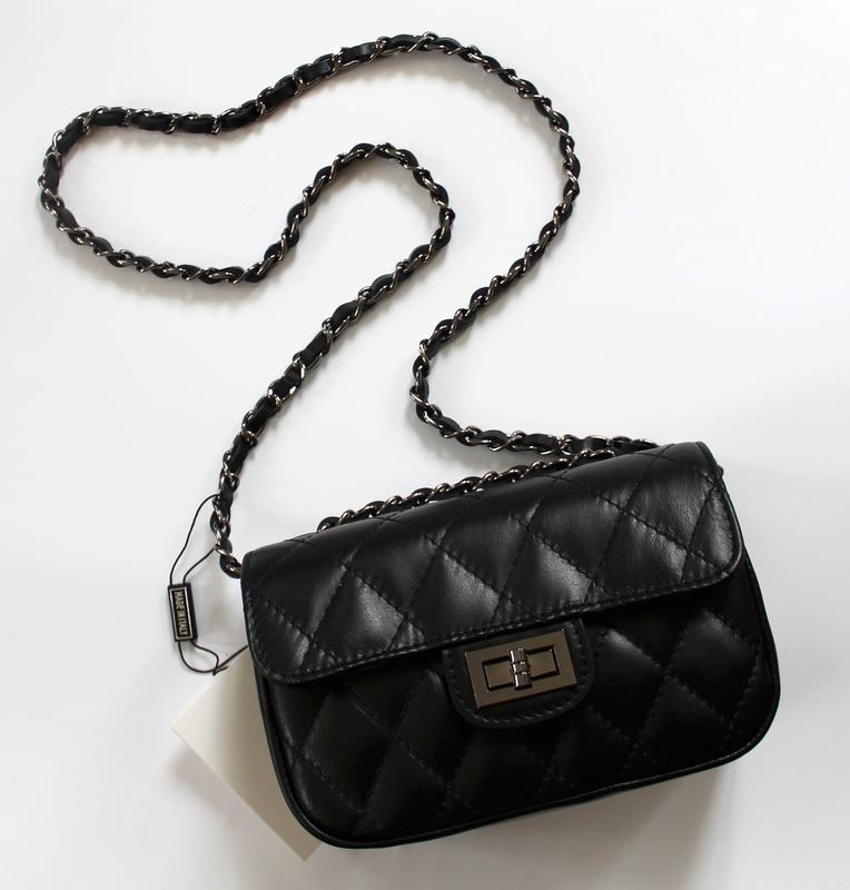 Стеганая черная кожаная (натуральная кожа) сумка в стиле шанель, италия1 ... b7a703a5e0a