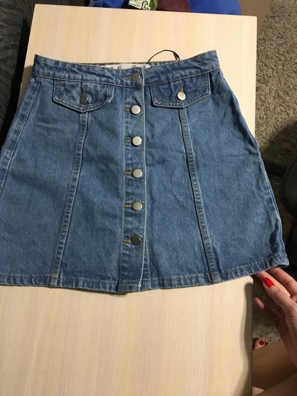 681917776673 Джинсовая юбка с завышенной талией denim co, юбка на пуговицах (Denim Co)  за 350 грн.