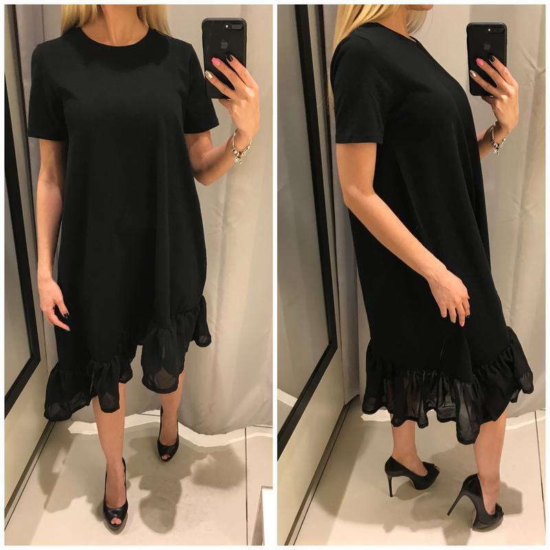 375edf65b5c Черное платье с шифоновой рюшей reserved. платье миди с коротким рукавом. с  м л