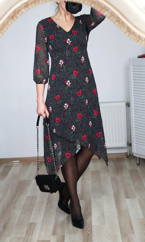 5469b39ef957044 ... Шифоновое платье в мелкий горошек и тюльпаны,нарядное/повседневное,xs-s3  фото ...