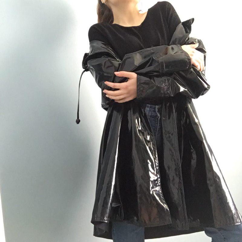 Виниловый лаковый комплект платье перчатки 7