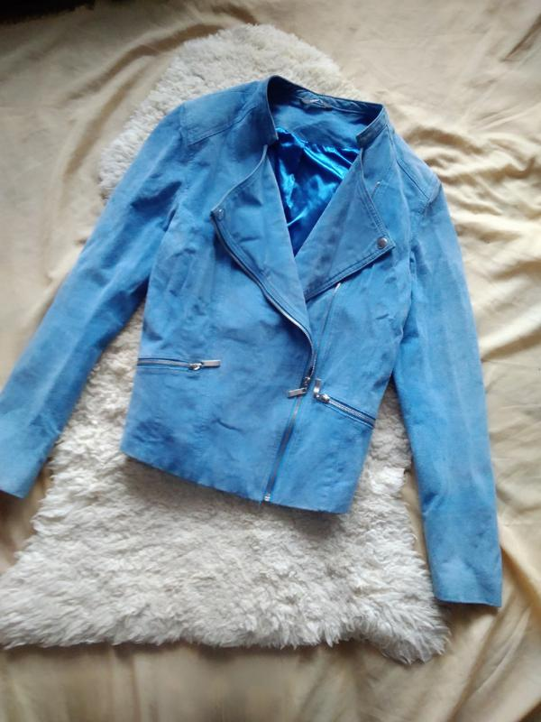 81806dabf96 Голубая замшевая косуха куртка натуральная замша кожаная байкерская ...