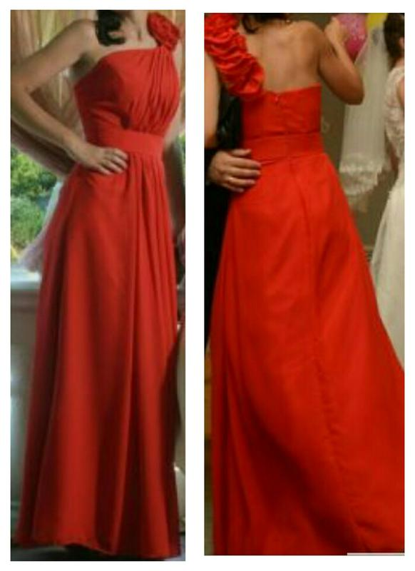 1d3d1478081 Шикарное вечернее красное шифоновое длинное в пол макси на одно плече с  цветами платье1 фото ...