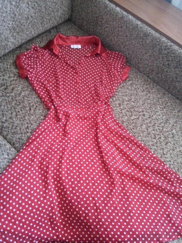 3ad7e0fc6db Яркое шифоновое платье в горошек с юбкой солнце клеш1 фото ...