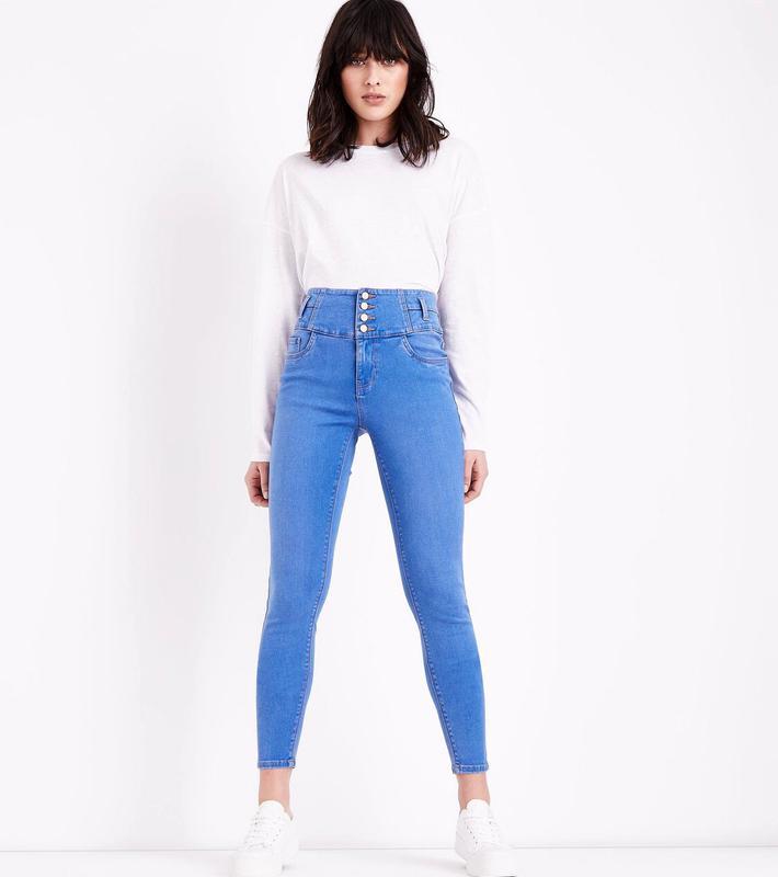 Яскраво блакитні джинси скінні із завищеною талією New Look 94eabe47d1fd7