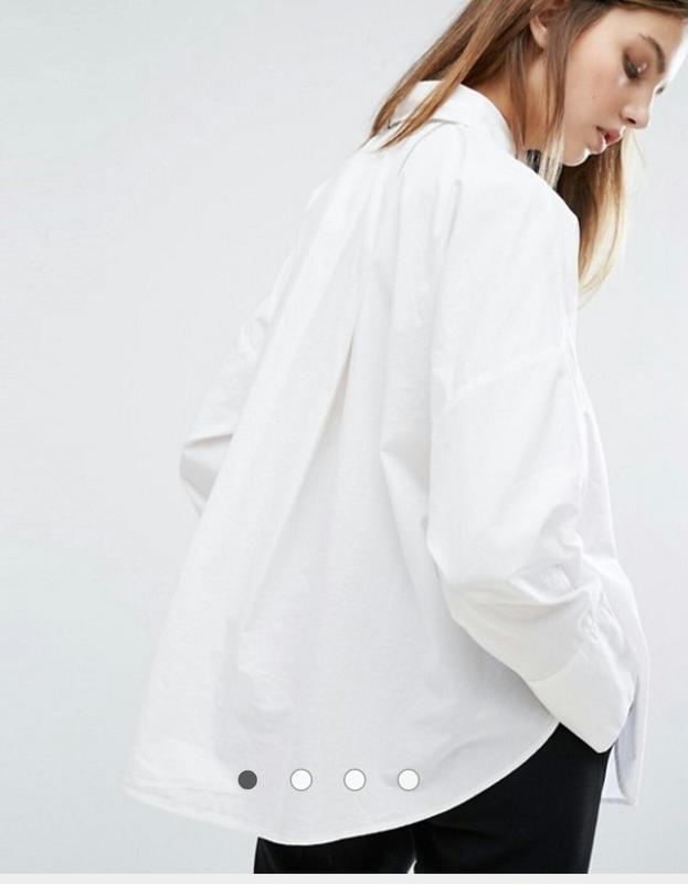 a674eaa5f56 Коттоновая белая рубашка оверсайз с широким складками на спине asos1 фото  ...