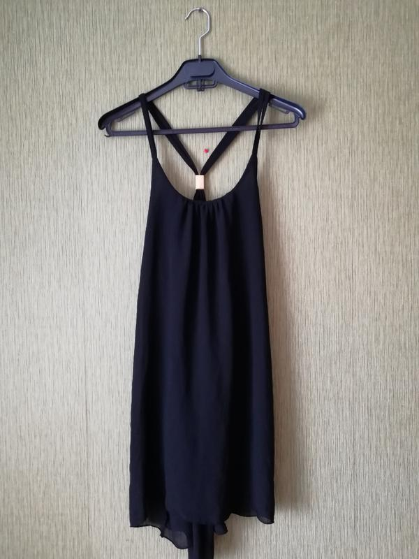 5b2e667ca84 Чёрное шифоновое платье ♥️на тонких бретелях с открытой спиной 💋  асимметричное платье1 фото ...