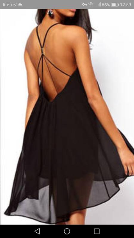 bbc8b350f17 ... Чёрное шифоновое платье ♥️на тонких бретелях с открытой спиной 💋  асимметричное платье4 фото