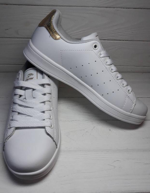 Белые кроссовки кеды золотой золотий задник білі кросівки кеди золоті  вставки р.36-411 ... 46ef300997ea5