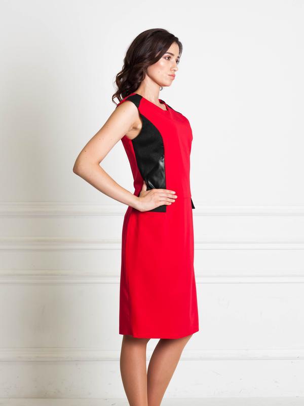 1fac8e44bb7 Распродажа до 31.10! красное платье с вставками из эко-кожи bonanza1 фото  ...