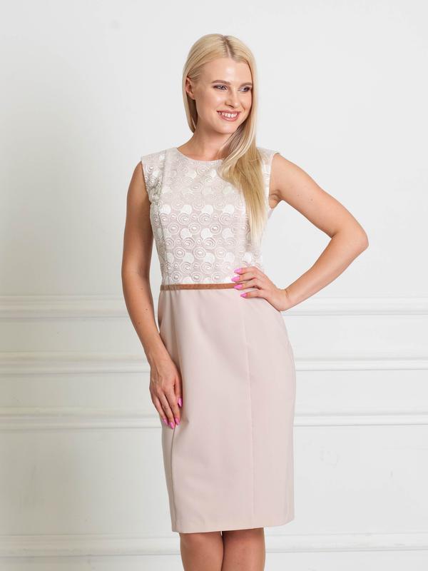 c142632bddee058 Распродажа до 31.10! платье нежно-пудровое с вставкой из гипюра bonanza1  фото ...