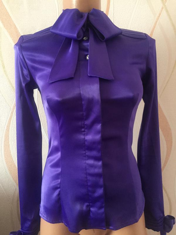c9b03bbb826 Шикарная атласная блузка с бантами1 ...