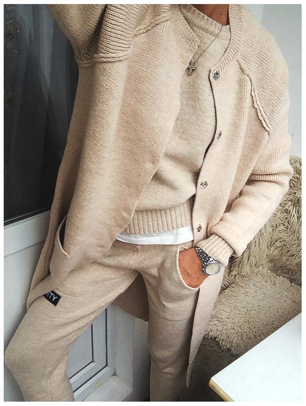 роскошное вязаное пальто кардиган с шерстью в цвете Cream цена