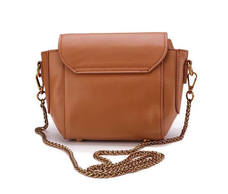 314480e7a177 ... Стильная кожаная женская светло-коричневая сумка кроссбоди ремешок  цепочка ручная работа2 фото ...