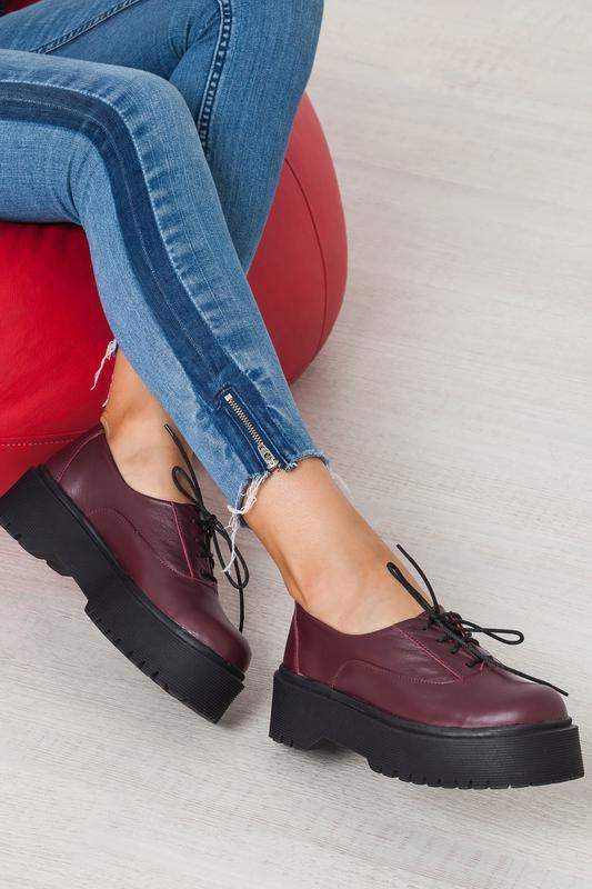 Женские туфли на платформе из натуральной кожи бордового цвета, на шнуровке  рр 36-401 ... e8489d278e1