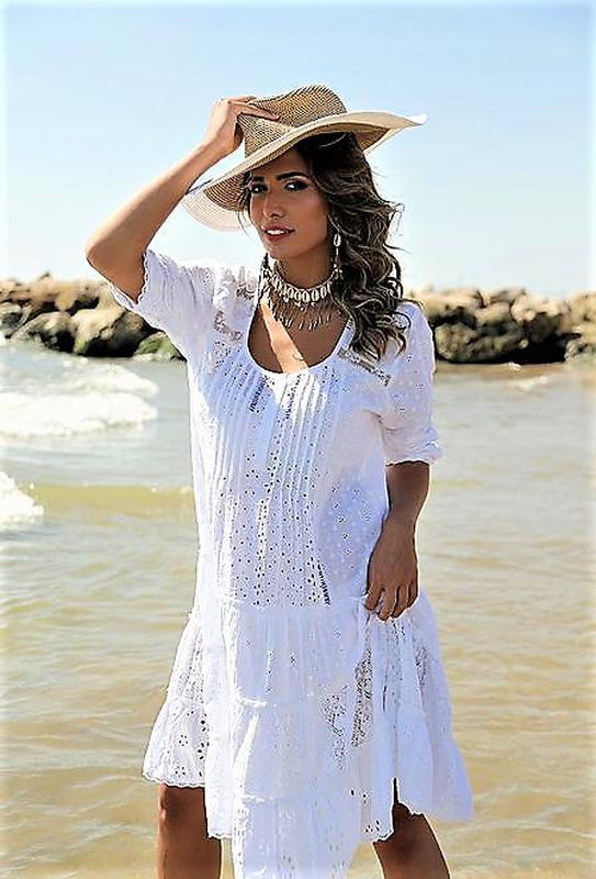 b2c767255b58 Женское летнее белое платье туника anastasea испания хлопок кружево бохо1  ...