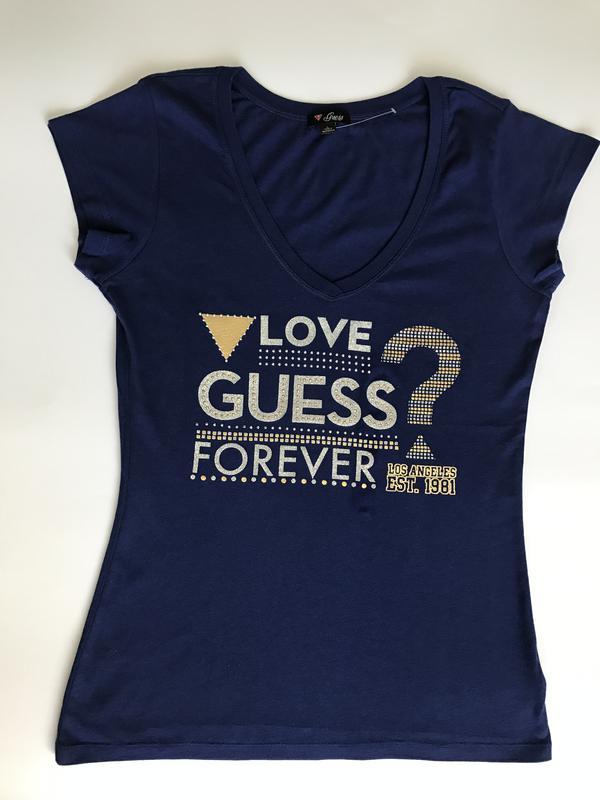 Новая брендовая синяя футболка guess размер l Guess f0bccf3874302