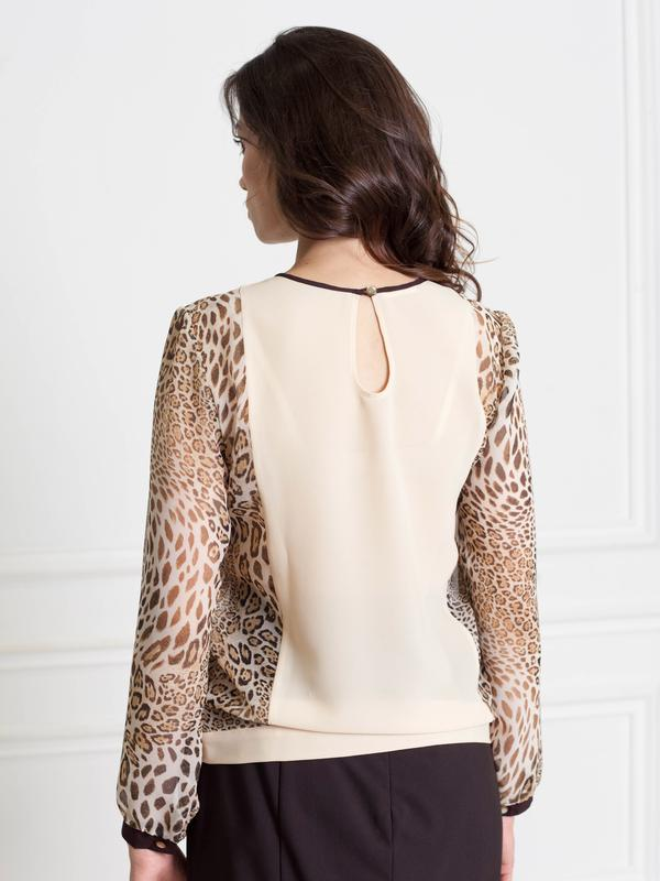 ee61265ad33 ... Бежевая шифоновая блузка - рукава с принтом леопард bonanza3 фото ...