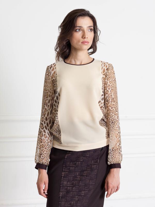 7a6cd3ac439 ... Бежевая шифоновая блузка - рукава с принтом леопард bonanza2 фото ...
