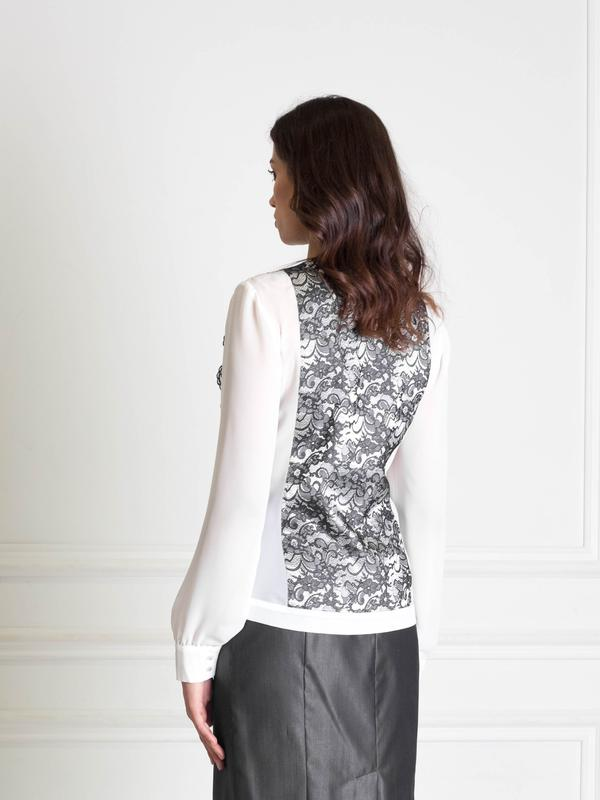 fe2899ecafd ... Белая шифоновая блузка с кружевной вставкой bonanza2 фото ...