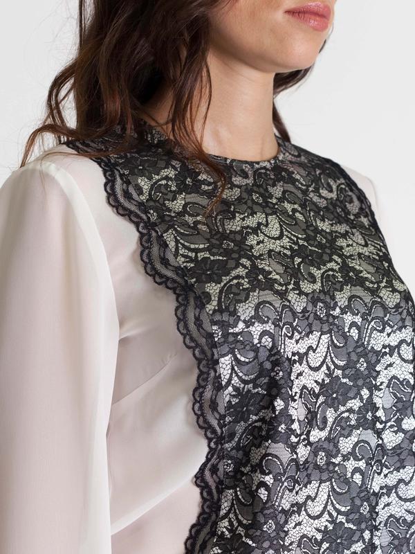 20e69b5e6bc ... Белая шифоновая блузка с кружевной вставкой bonanza3 фото ...