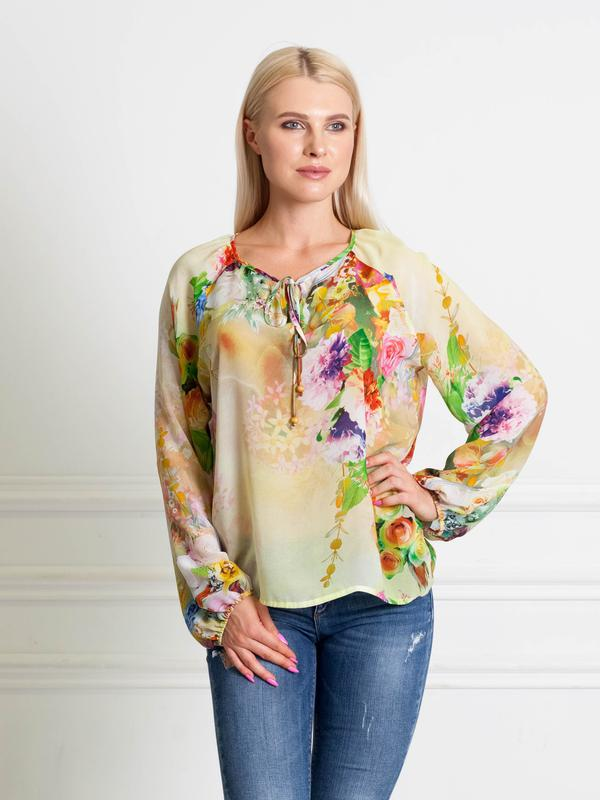 a6b655497f3 Шифоновая блузка розы на желтом bonanza1 фото ...