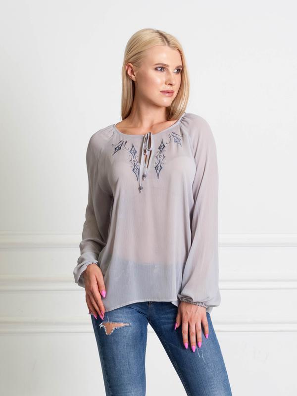 da132d39ced Серая шифоновая блузка с вышивкой bonanza1 фото ...