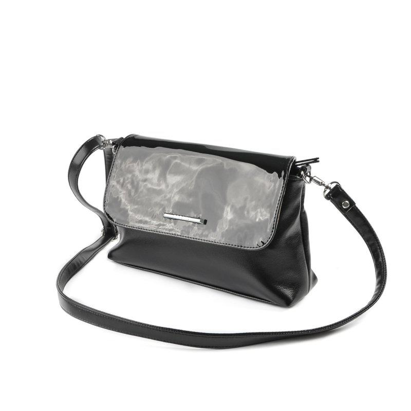 ce7a92348372 Черная лаковая женская большая сумка-клатч через плечо, цена - 345 ...