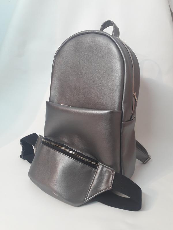 188812d75a3e Комплект большой женский рюкзак металлик и женская бананка металлик вместе  дешевле1 фото ...