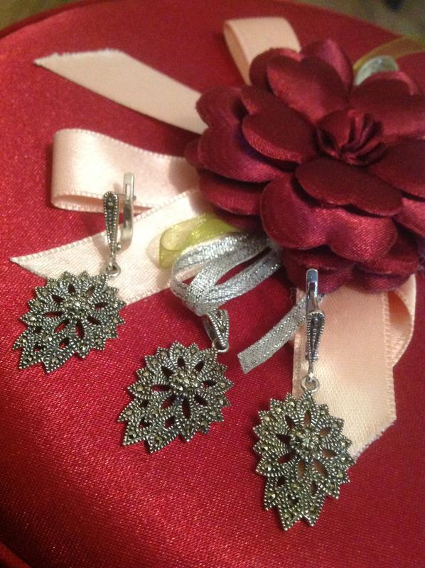 Потрясающий изысканный набор капельное серебро 925 пр с маркезитами1 ... 5e0ea20beb0