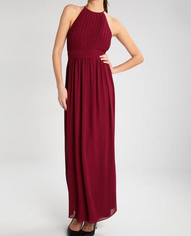 Выпускное длинное платье в пол   на выпуск  вечернее макси бордовое   гофре    марсала ... 003630126120b