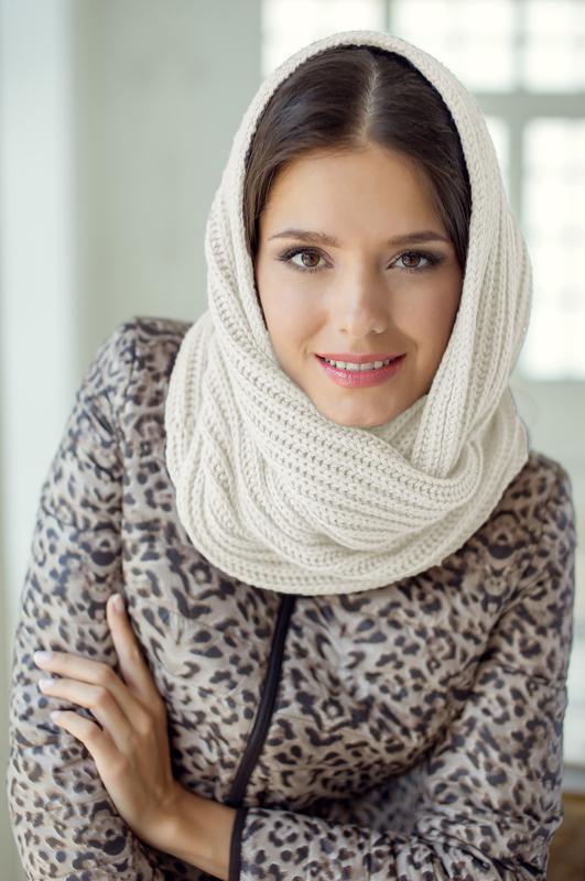вязаный снуд шарф хомут бежевый женский цена 150 грн 11970016