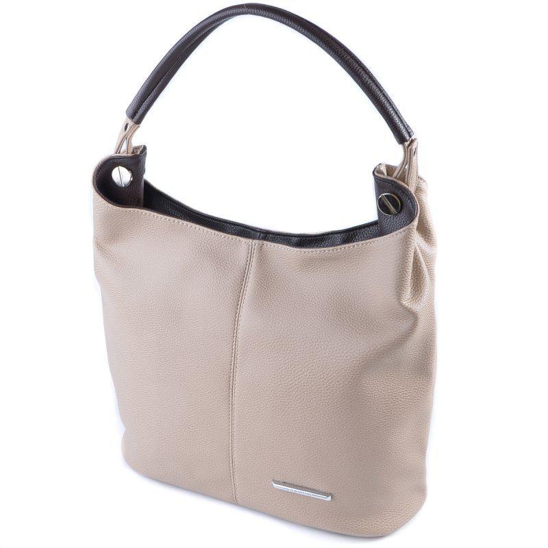 15feb41c87cf Бежевая женская сумка-мешок на плечо с коричневыми вставками1 фото ...