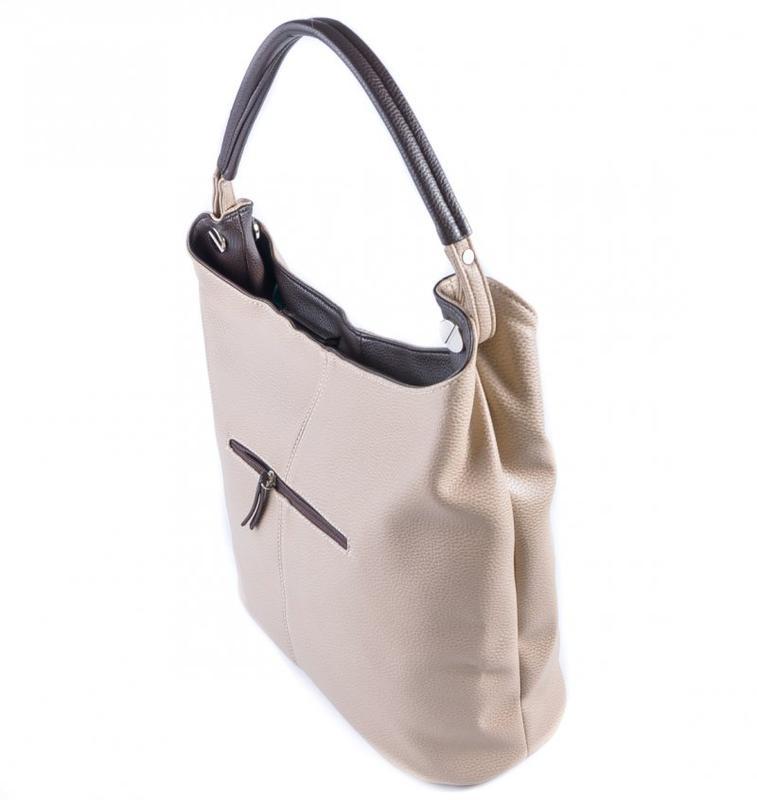 0eed6f0633c4 ... вставками1 фото · Бежевая женская сумка-мешок на плечо с коричневыми  вставками2 фото ...