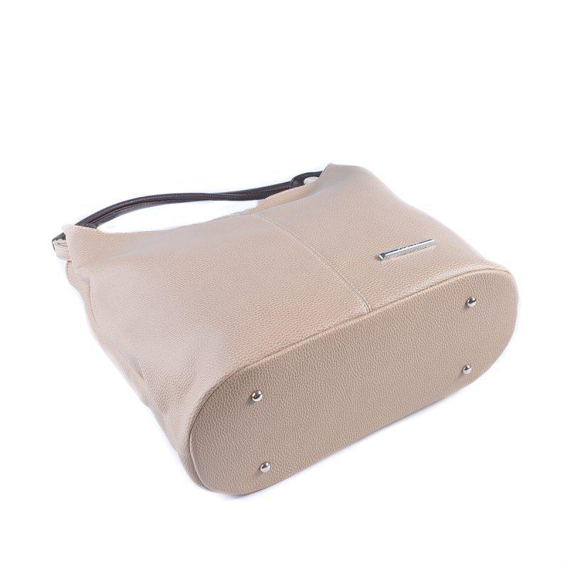 7e682cde4497 ... Бежевая женская сумка-мешок на плечо с коричневыми вставками3 фото ...