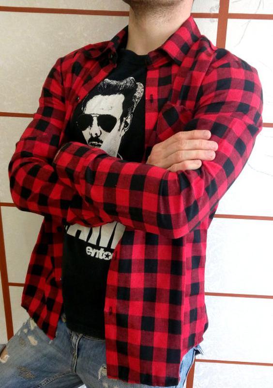 86adfea36cf Рубашка в клетку мужская красная1 фото ...
