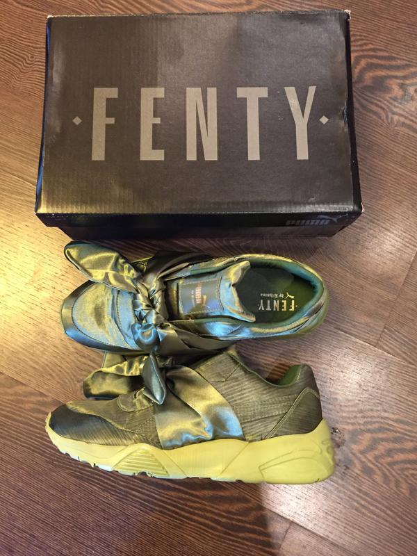 Стильный атласные спортивные кроссовки с бантом хаки puma fenty by rihanna1  ... 75e4658faaa