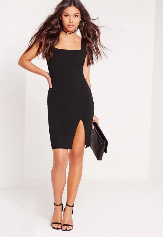 07366758a493 Классическое черное платье с разрезом Missguided, цена - 598 грн ...