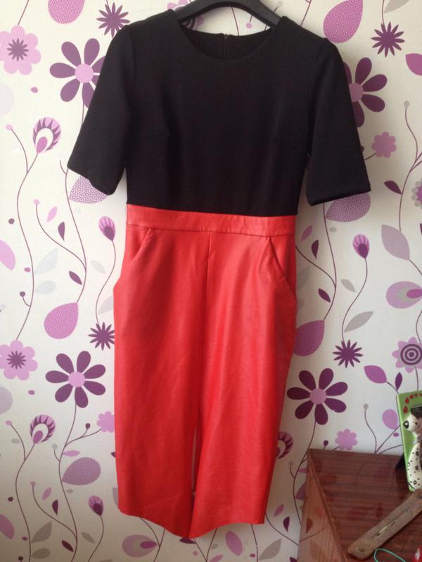 c32e2b6462a Платье черно-красное с эко-кожей (низ)1 фото ...